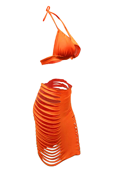 Sexy Hollow-out Orange Two-piece Swimwear