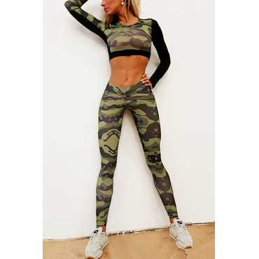 Multi Polyester Pants Print O neck Long Sleeve Casual Two Pieces