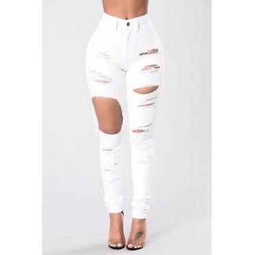 Cotton Blends Solid Button Fly High Regular Pants Pants