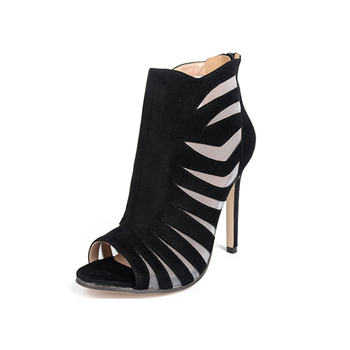 Stylish Pointed Peep Toe Hollow-out Stiletto Super High Heel Black Suede Sandals