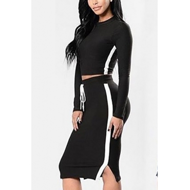 Casual Round Neck Long Sleeves Patchwork Black Polyester Two-piece Skirt Set