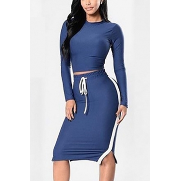 Casual Round Neck Long Sleeves Patchwork Blue Polyester Two-piece Skirt Set