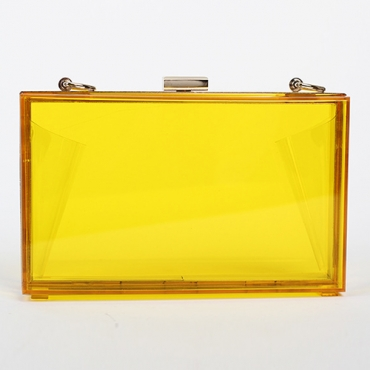 Fashion Solid Yellow PVC Crossbody