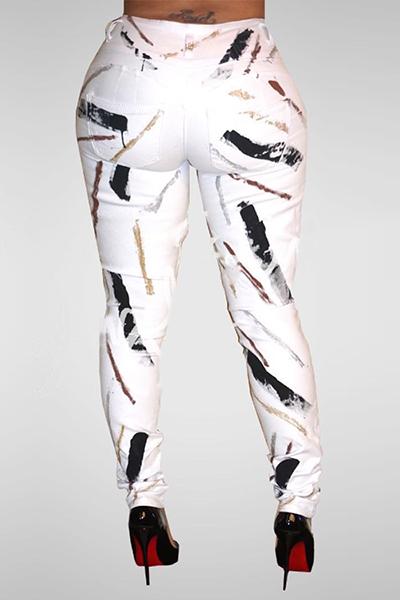 Denim botão de impressão Fly Mid Regular Pants Jeans