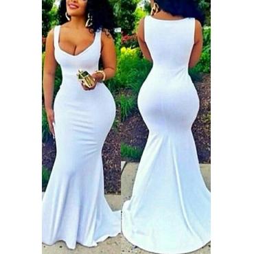 Cotton Blend Fashion U Neck Sleeveless Mermaid Floor length Dresses