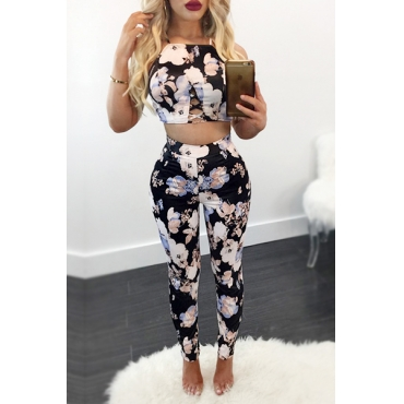 Black Cotton Blend Pants Print Square Sleeveless Sexy Two Pieces