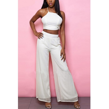 White Chiffon Pants Solid Square Sleeveless Sexy Two Pieces