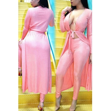 Pink Velvet Pants Solid V Neck Long Sleeve Sexy Two Pieces