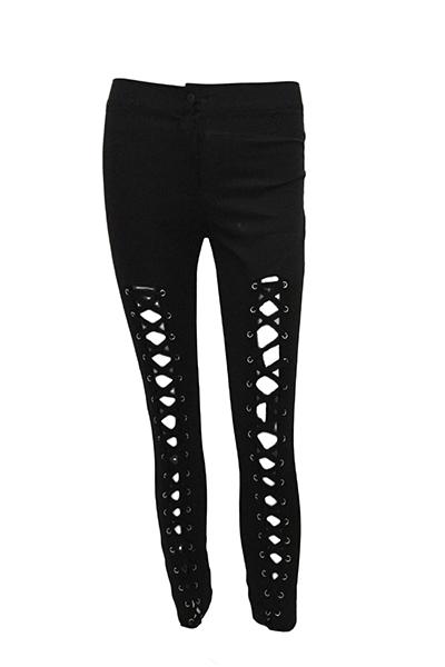 cotone mescola leggings alto solido