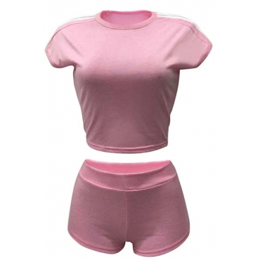 Pink Cotton Shorts Solid O neck Short Sleeve Casual Two Pieces