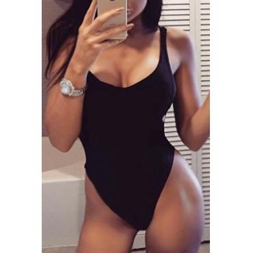 Sexy U-shaped Neck Hollow-out Black Cotton One-piece Swimwear