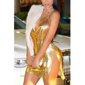 Sexy Halter V Neck Spaghetti Strap Sleeveless Backless Gold Sequined Mini Dress
