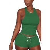 Зеленый хлопок смесь шорты твердых U шеи рукавов случайных две части