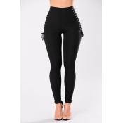 Cotton Solid Zipper Fly High Skinny Pants Pants