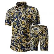 Stylish Mandarin Collar Short Sleeves Printed Yellow Cotton Blends Two-piece Shorts Set