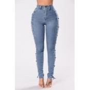 Trendy alta cintura oca-out Light Blue Denim Pant