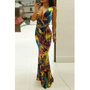 Sexy V Neck Sleeveless Art Printing Qmilch Sheath Floor length Dress