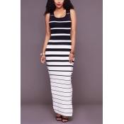 Moda em forma de U pescoço sem mangas Striped Spli alta