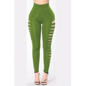 Polyester Solid High Skinny Pants Pants