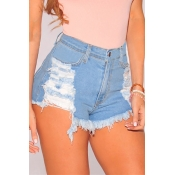 Euramerican High Waist Light Blue Denim Shorts