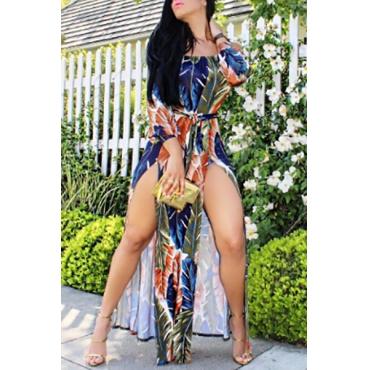 Qmilch Casual Bateau pescoço manga comprida tornozelo vestidos