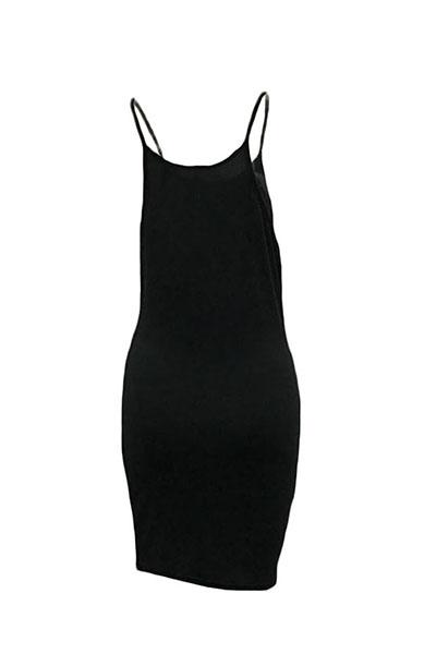 Casual Round Neck Spaghetti Strap Sleeveless Letters Printed Black Polyester Sheath Mini Dress