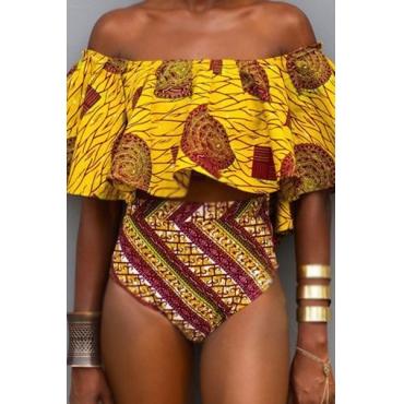 Euramerican Printed Falbala Design Yellow Nylon Two-piece Swimwear