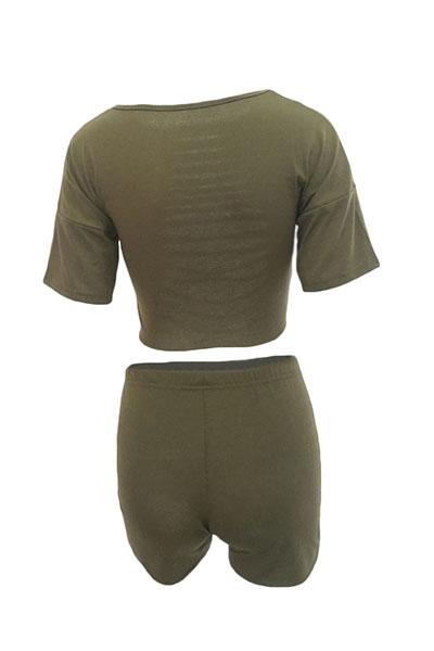 Green Cotton Blend Shorts Sólidos O cuello manga corta Sexy Dos piezas