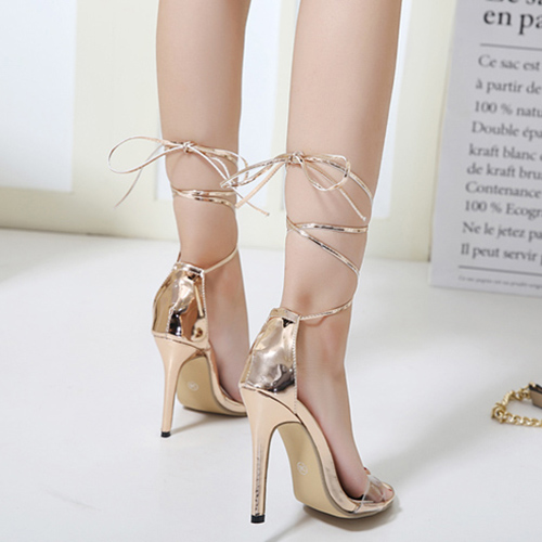 Stylish Point Peep Toe Lace-up Stiletto Super High Heel Champagne PU Ankle Strap Sandals