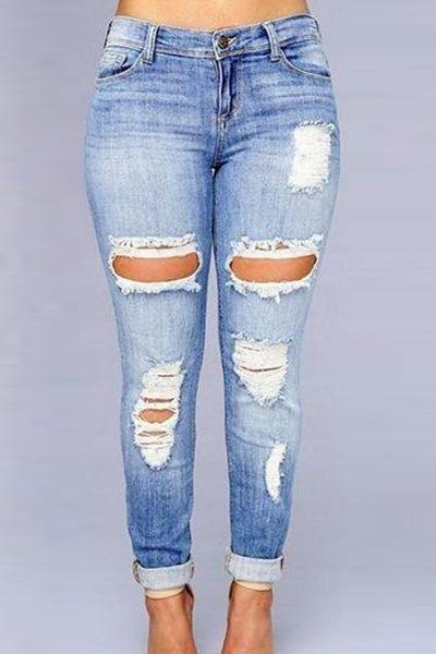 Euramerican High Waist Broken Holes Dark Blue Denim Jeans