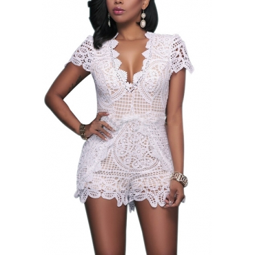 Charismatic V Neck Short Sleeves Lace Trim Patchwork White One-piece Skinny Jumpsuits