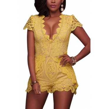 Charismatic V Neck Short Sleeves Lace Trim Patchwork Yellow One-piece Skinny Jumpsuits