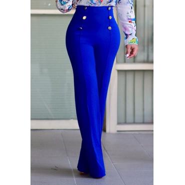 Elegante alta cintura de duas botas design azul calças de poliéster