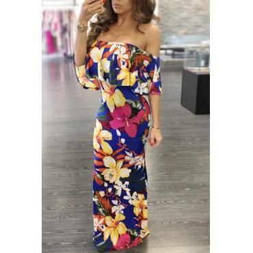 Charming Bateau Neck Short Sleeves Floral Print Twilled Satin Floor Length Dress