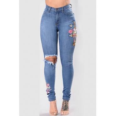 Stylish High Waist Broken Holes Blue Denim Jeans
