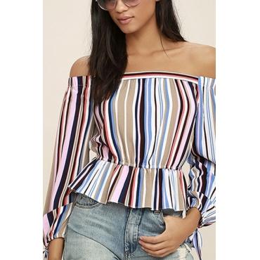 Stylish Bateau Neck Long Sleeves Striped Polyester T-shirt