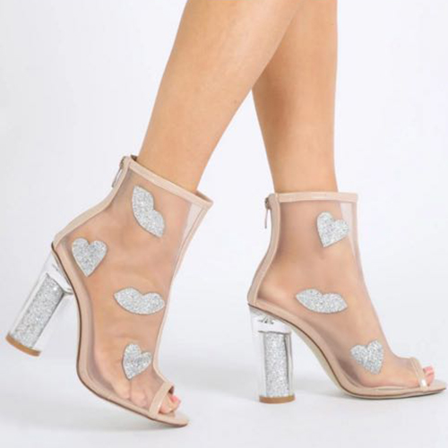 Fashion Pointed Peep Toe See-Through Chunky Super High Heel Apricot Net Yarn Sandals
