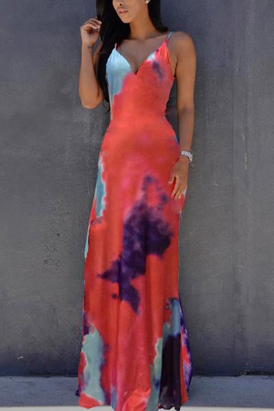 Платья Длина полиэстер Sexy V образным вырезом без рукавов лодыжки