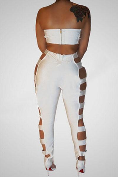 Sexy Hollow-out blanco sano de tela de dos piezas pantalones Set