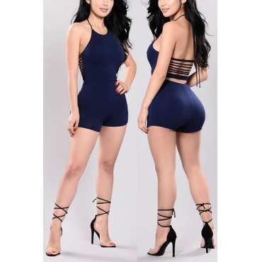Sexy Round Neck Sleeveless Backless Navy Blue Qmilch One-piece Skinny Jumpsuits