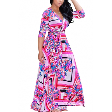 Euramerican V Neck Three Quarter Sleeves Digital Printing Pink Healthy Fabric Floor Length Dress