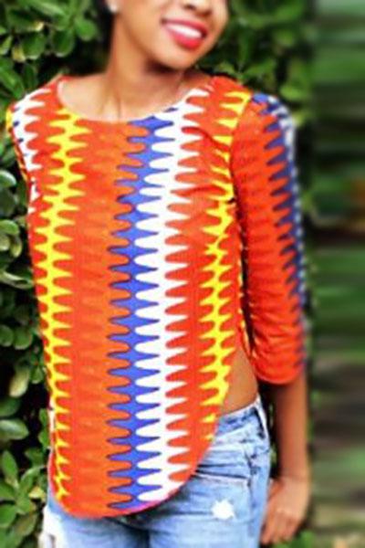 Стильные шею с короткими рукавами с отпечатанным бордюром Красно-желтые рубашки из полиэстера