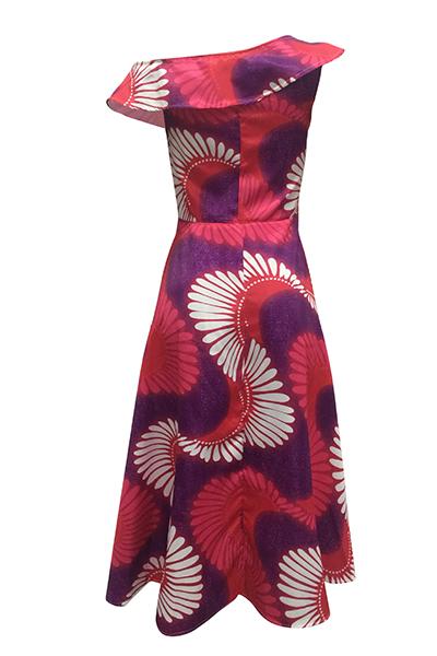 Estilo étnico Bateau cuello de un hombro mangas cortas Totem impreso vestido de poliéster de longitud del tobillo