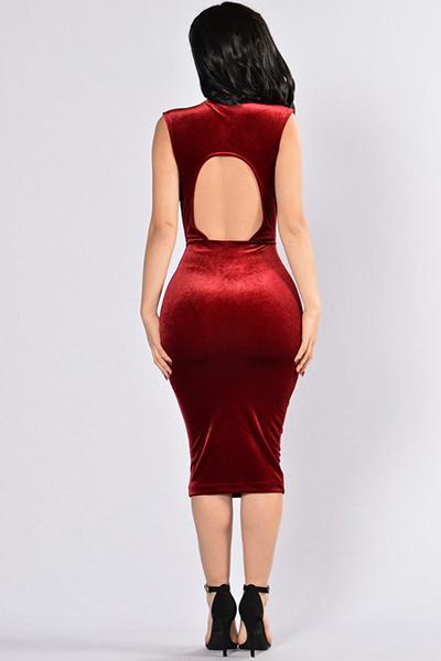 Sexy V profundo pescoço sem mangas Backless Red Velvet bainha vestido do joelho Comprimento