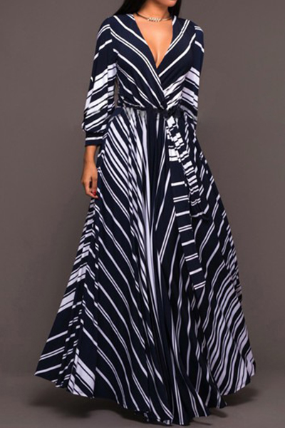 Stylish V Neck Long Sleeves Striped Milk Fiber Floor Length Dress