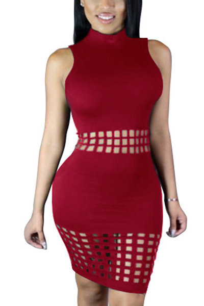 Stylish Mandarin Collar Tank Sleeveless Hollow-out Wine Red Polyester Sheath Knee Length Dress