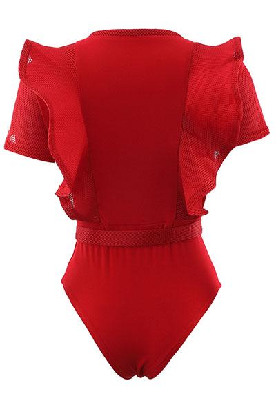 Сексуальная шею с короткими рукавами и прозрачным комбинезоном из полиэстера