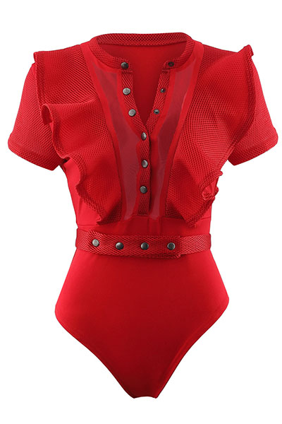 Sexy Redonda pescoço curto mangas See-Through Red Polyester Mono Skinny Jumpsuits