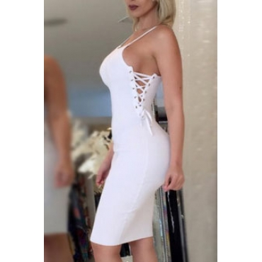 Sexy Spaghetti Strap Hollow-out White Fiber Sheath Knee Length Dress