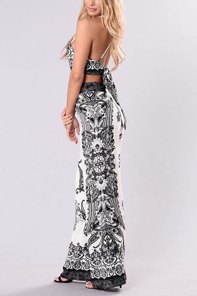 Sexy High Waist Printed Backless White Qmilch Two-piece Pants Set
